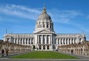 San Francisco City Hall from east end of Civic Center Plaza